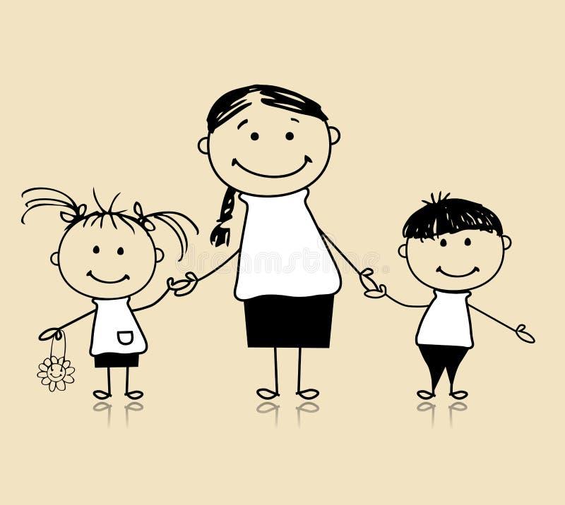 画系列愉快的母亲草图的子项 向量例证