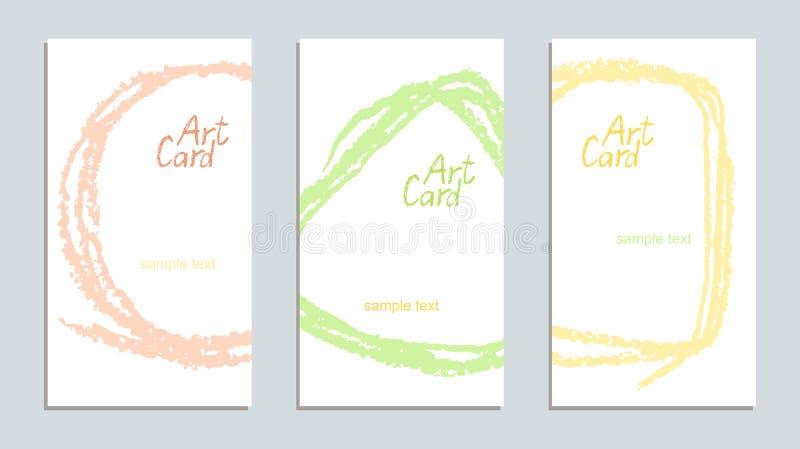 画艺术性的冲程拷贝空间卡集的软的淡色手 皇族释放例证