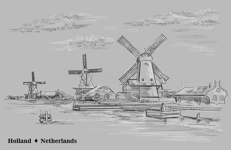 画荷兰2的灰色传染媒介手 皇族释放例证