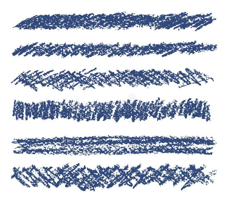 画蓝色蜡笔设计元素集的手 库存例证