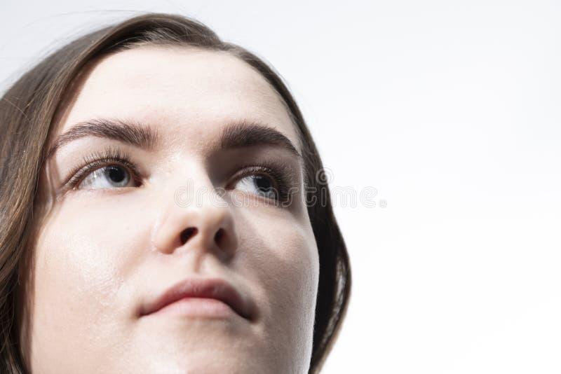 画象一少女的照片写真有长的卷发的 库存图片