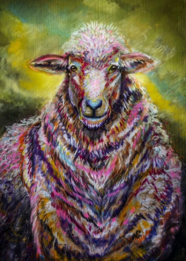 画象与五颜六色的羊毛外套的艺术绵羊 向量例证