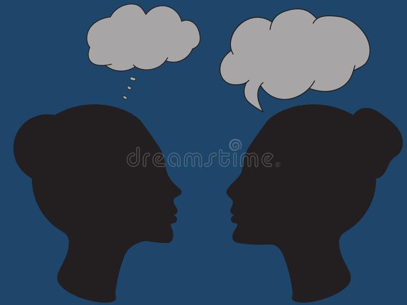 画象两名妇女概述剪影外形的与讲话起泡 向量例证