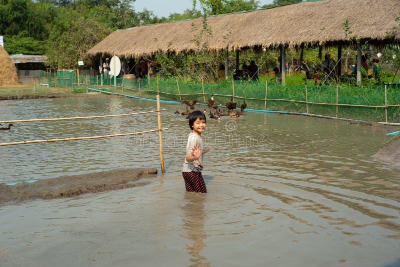 画象亚裔湿女孩在泥池塘享受戏剧并且追逐小组鸭子在农场 免版税库存照片