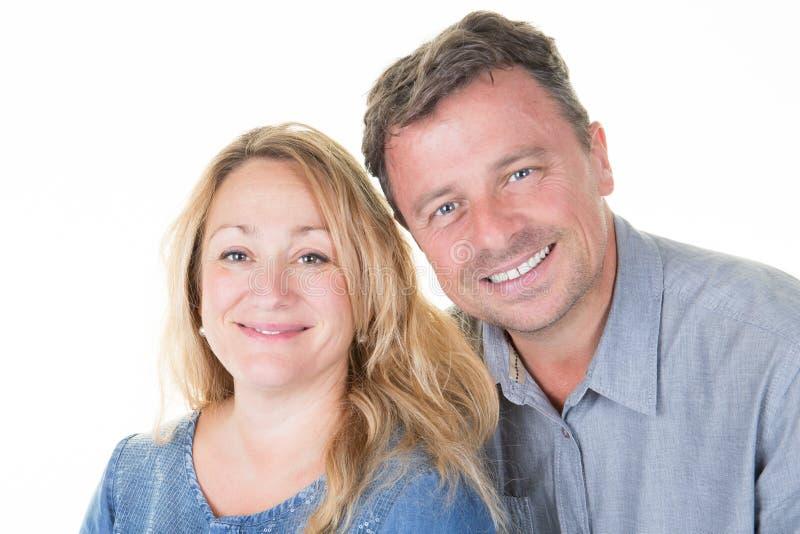 画象四十年代夫妇微笑 库存照片