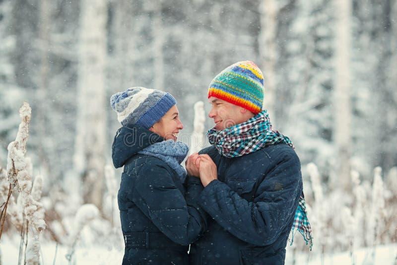 画象在冬天森林丈夫和妻子微笑的美好的愉快的夫妇 库存图片