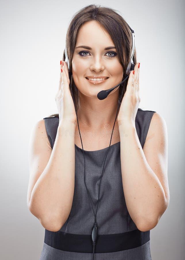 画象妇女顾客服务工作者,电话中心微笑 免版税图库摄影