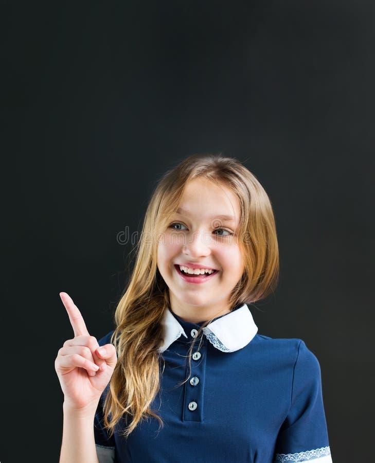 画象字符滑稽的少年学生女孩绿色 库存图片