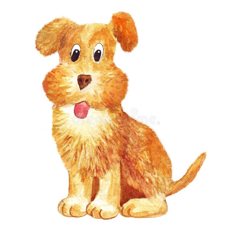 画象水彩褐色狗滑稽的愉快的象 皇族释放例证