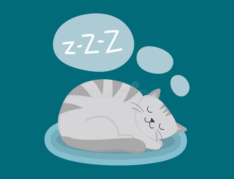 画象猫动物睡眠宠物逗人喜爱的小猫纯血统似猫的全部赌注国内毛皮可爱的哺乳动物的字符传染媒介 库存例证