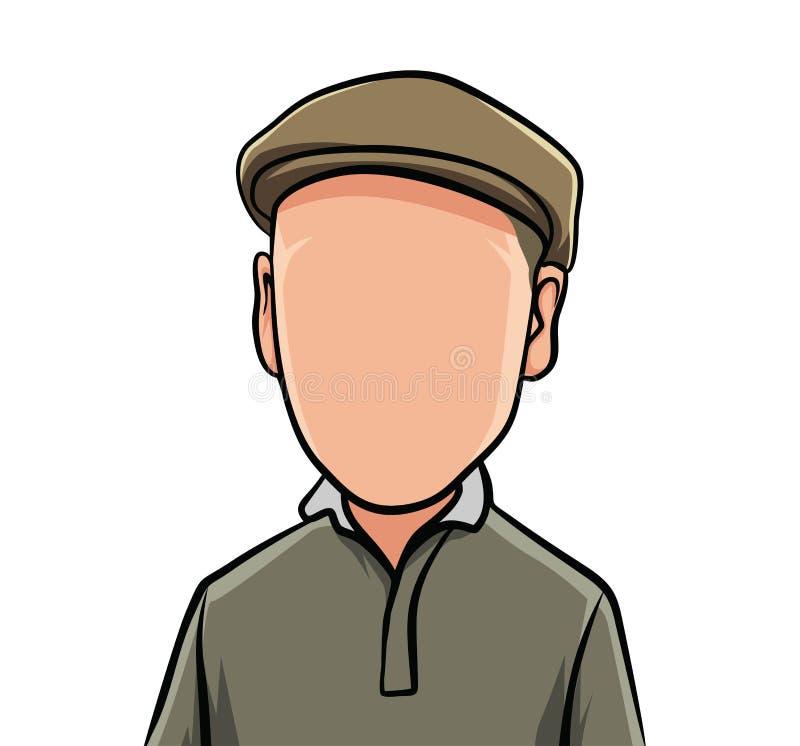 画象男性身体的讽刺画,例证与棕色衣裳的和帽子 向量例证