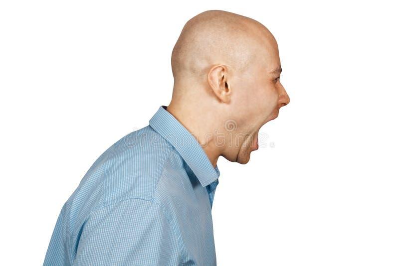 画象积极的秃头恼怒的人上司,尖叫对被隔绝的白色背景的下级 免版税库存图片