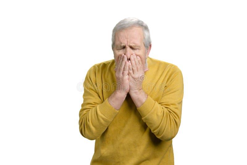 画象老人咳嗽 图库摄影