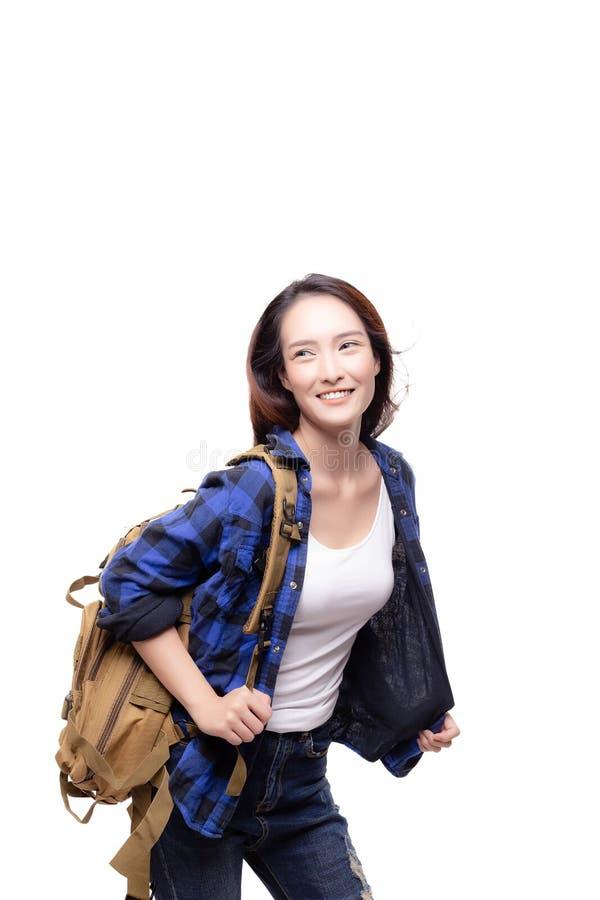 画象迷人的美丽的旅客妇女 有吸引力美丽 免版税库存照片