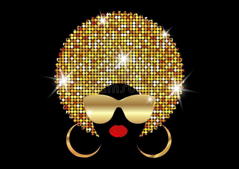 画象非洲妇女、黑暗的皮肤女性面孔与发光的头发非洲和金子金属化太阳镜在传统种族金黄头巾 向量例证