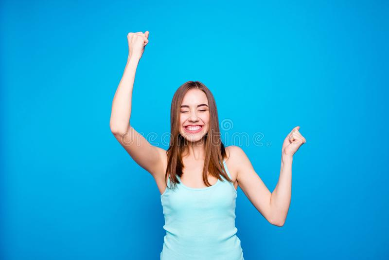 画象高兴逗人喜爱的有吸引力的学生夫人感觉好伟大完善抽奖竞争激动的上升 库存照片