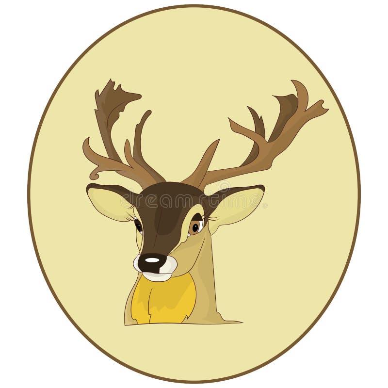 画象 一头鹿的头在一个圆的框架的,在白色的动画片 向量例证