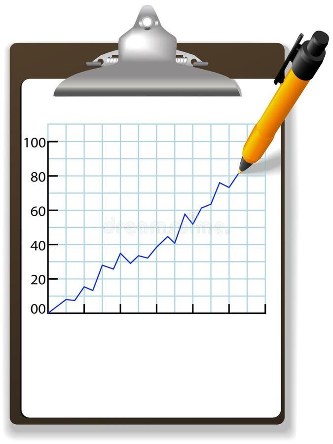 画财务增长笔的图表剪贴板 皇族释放例证