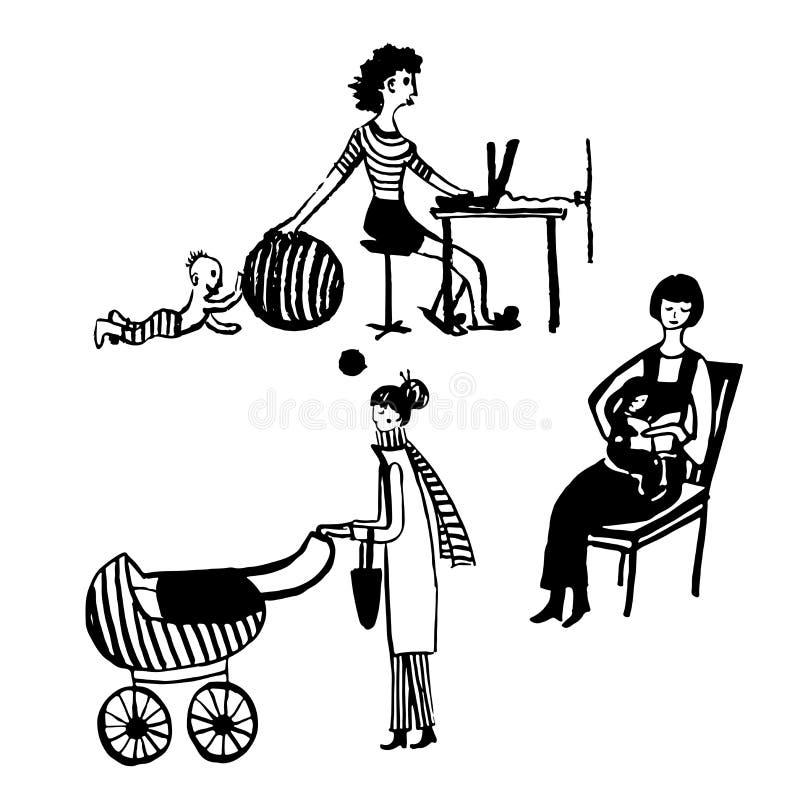 画,一套照顾孩子,阅读书的年轻母亲的动画片图片,走与婴儿推车, s 库存例证