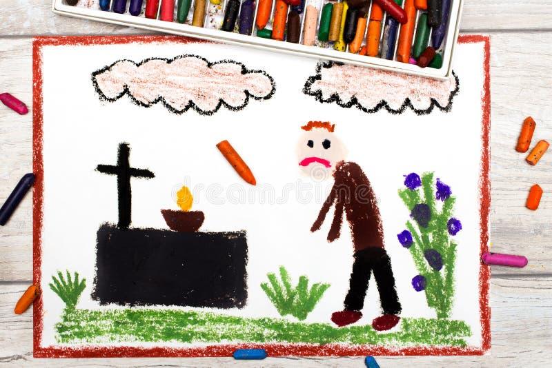 画:哀伤的人和坟墓 向量例证