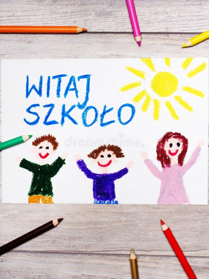 画:对学校、教学楼和愉快的孩子的波兰词欢迎 免版税图库摄影