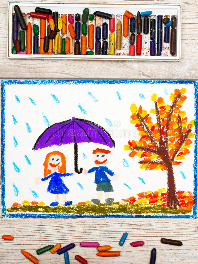 画:秋天雨,拿着伞的微笑的夫妇 免版税库存图片