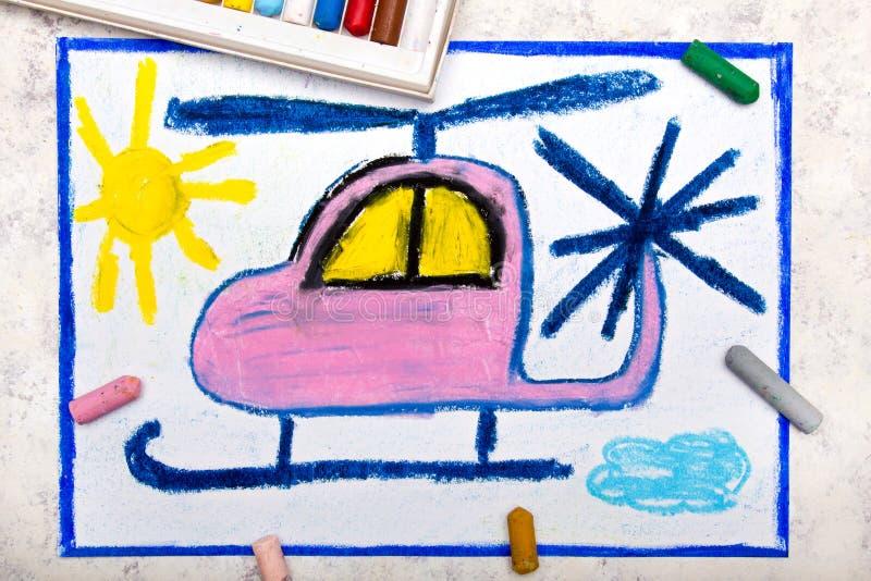 画:逗人喜爱的桃红色直升机 免版税库存图片