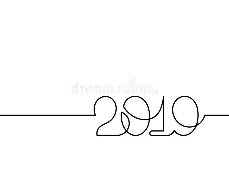 画2019年的一个实线 向量例证