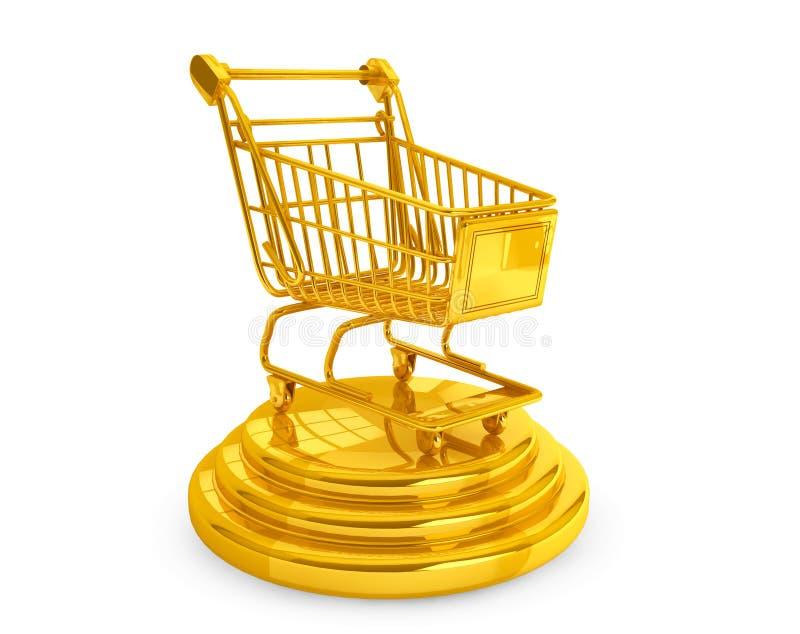 畅销品概念。金黄购物车 向量例证