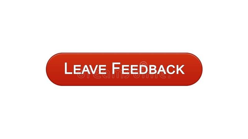 留下反馈网接口按钮葡萄酒红颜色,客户评论,站点设计 向量例证