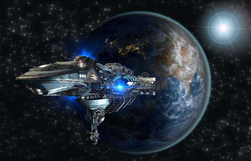 留下地球的太空飞船舰队 皇族释放例证