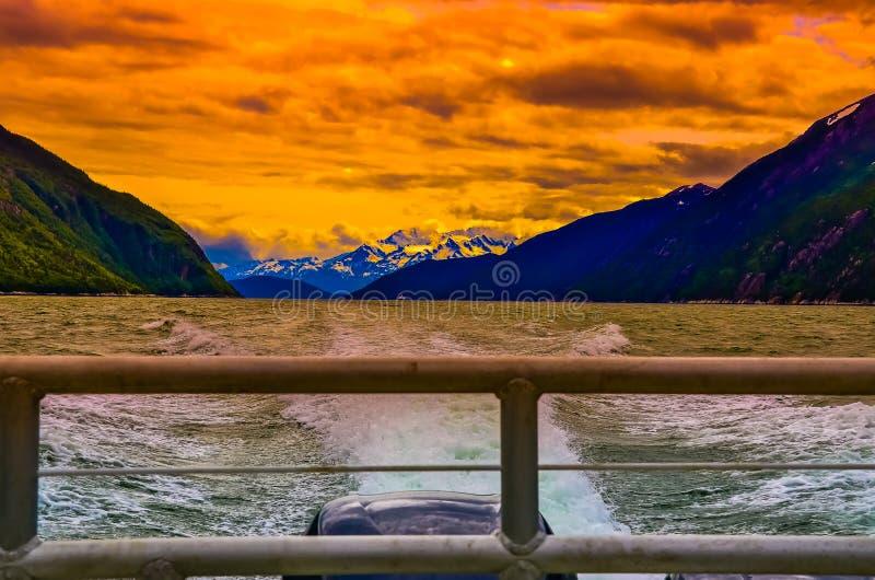 留下阿拉斯加的日落 库存照片