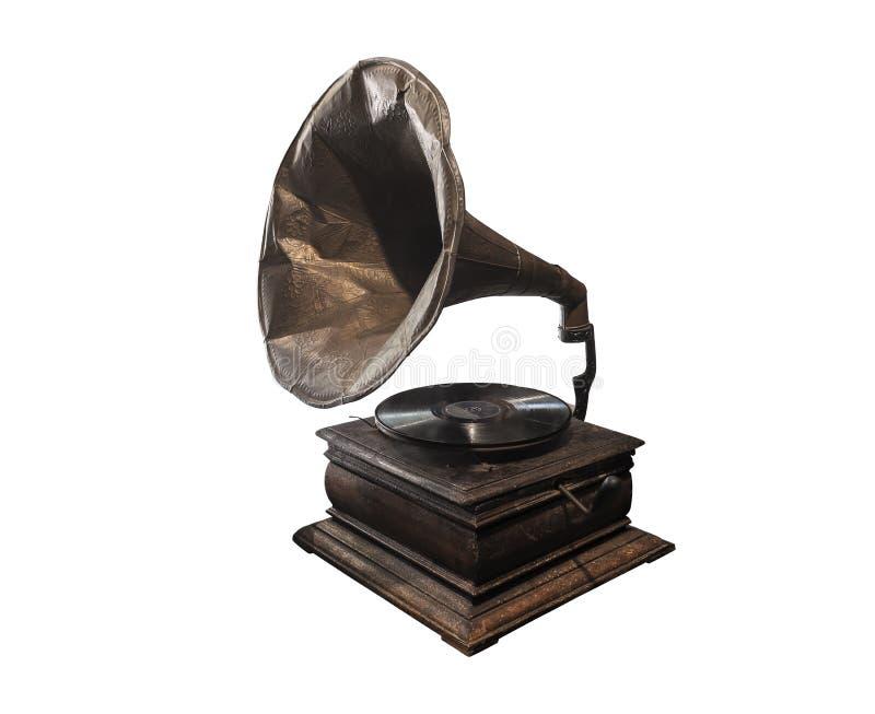 留声机在白色背景和凹痕隔绝的一部老电唱机 免版税图库摄影