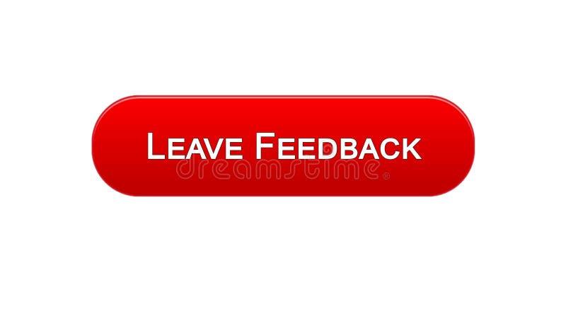留给反馈网接口按钮红颜色,客户评论,站点设计 库存例证
