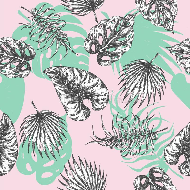 留给热带 无缝的与热带植物的样式植物的背景 异乎寻常的棕榈叶纺织品印刷品夏天 库存例证