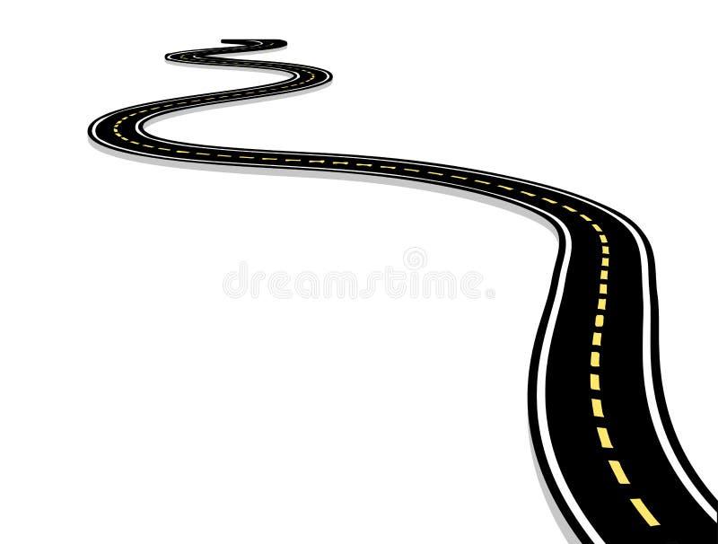 留给高速公路,弯曲的路标号 3D在白色的传染媒介例证 库存例证
