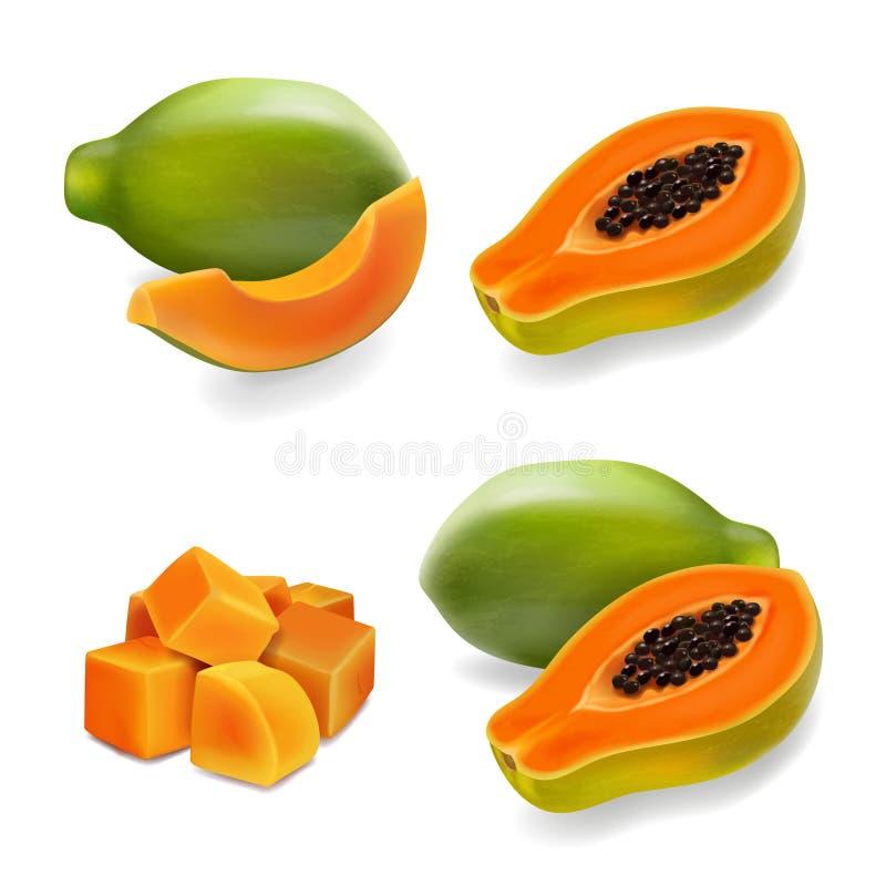 番木瓜集合、木瓜、爪子爪子、切片和整个水多的果子 库存例证