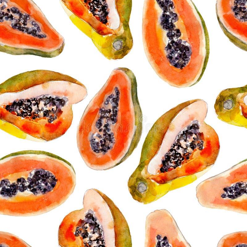 番木瓜水彩无缝的样式 被隔绝的明亮的热带水果 皇族释放例证