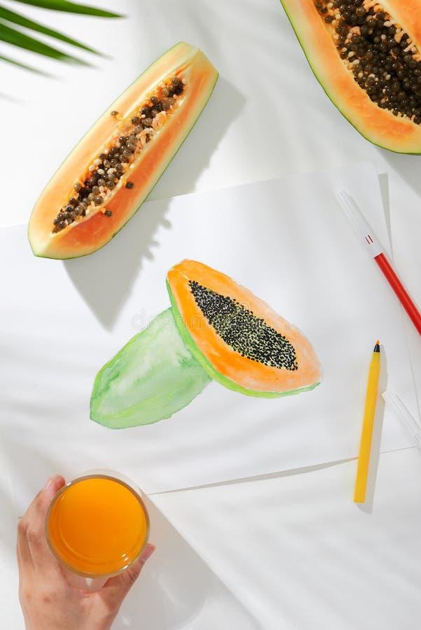 番木瓜 热带夏天概念由番木瓜果子和手图画例证制成 免版税库存照片