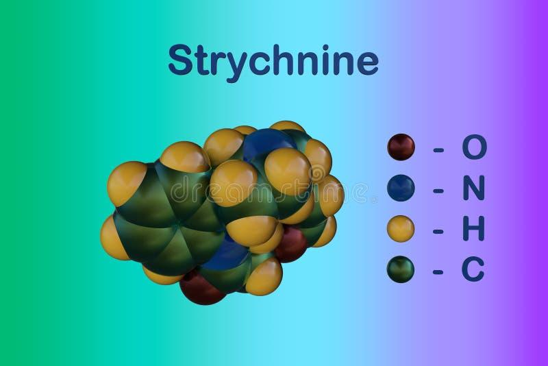 番木鳖碱,高度毒性,无色,苦涩,水晶植物生物碱分子模型  这是常用的作为a 向量例证