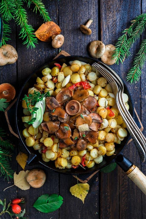 番红花牛奶盖帽采蘑菇用油煎的土豆,土气样式 库存图片