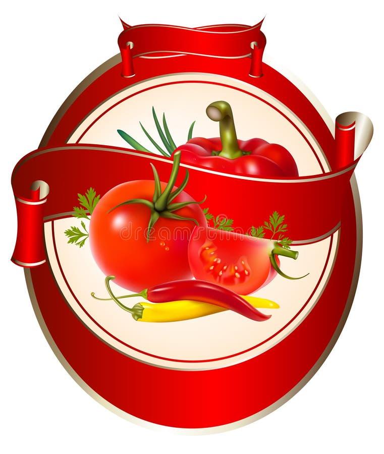 番茄酱标签photorea产品调味汁 库存例证