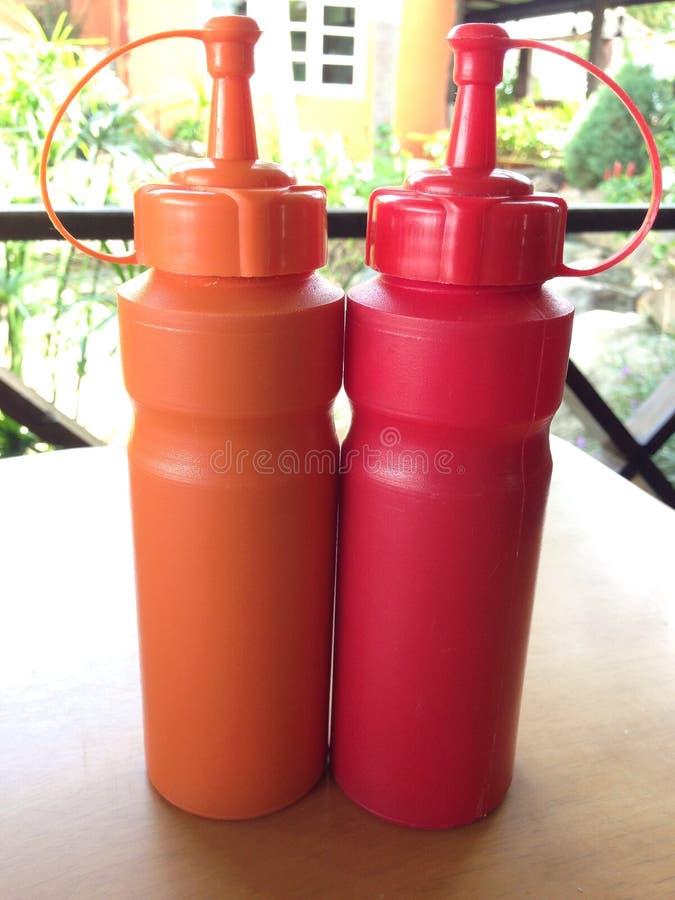 番茄酱的瓶 免版税图库摄影
