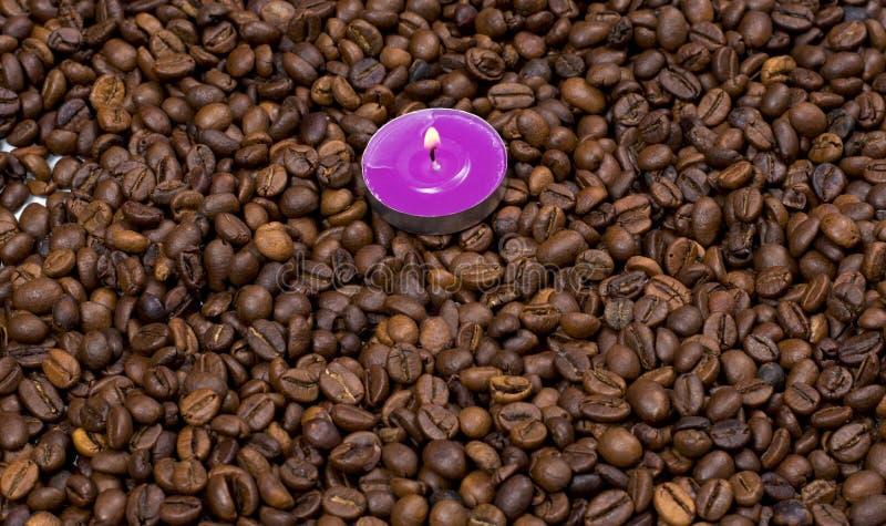 疏散咖啡粒和在他们一个桃红色蜡烛 免版税图库摄影