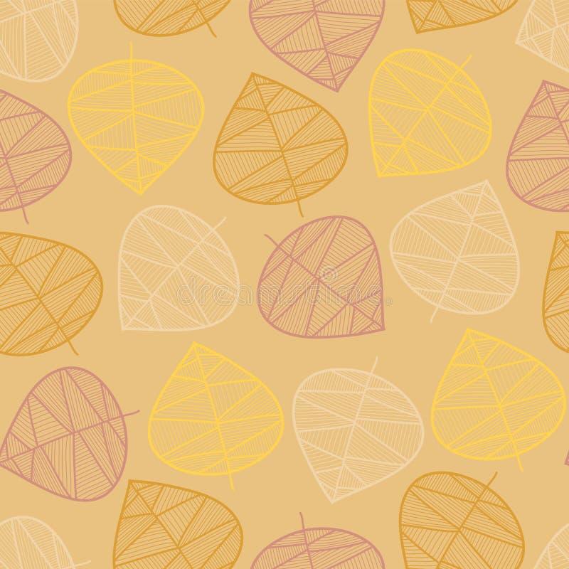 疏散秋叶无缝的传染媒介背景 微妙的抽象样式 重复纹理风格化秋天叶子 季节性秋天 向量例证