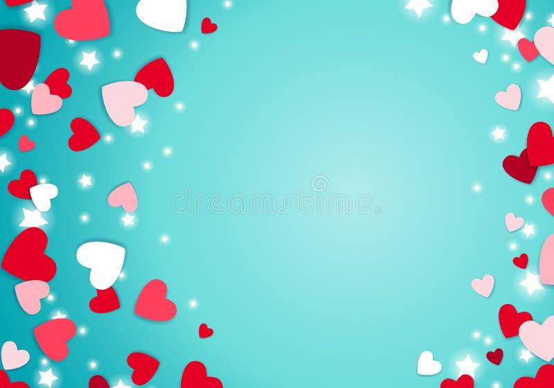 疏散红色和桃红色心脏背景 库存例证
