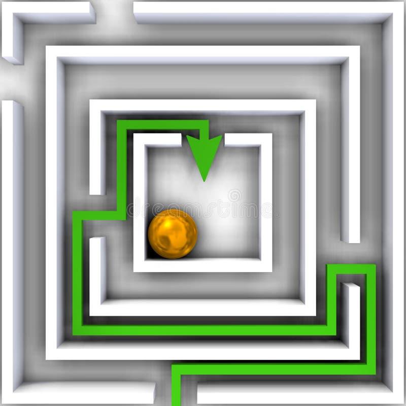 疑义迷宫在白色的 库存例证