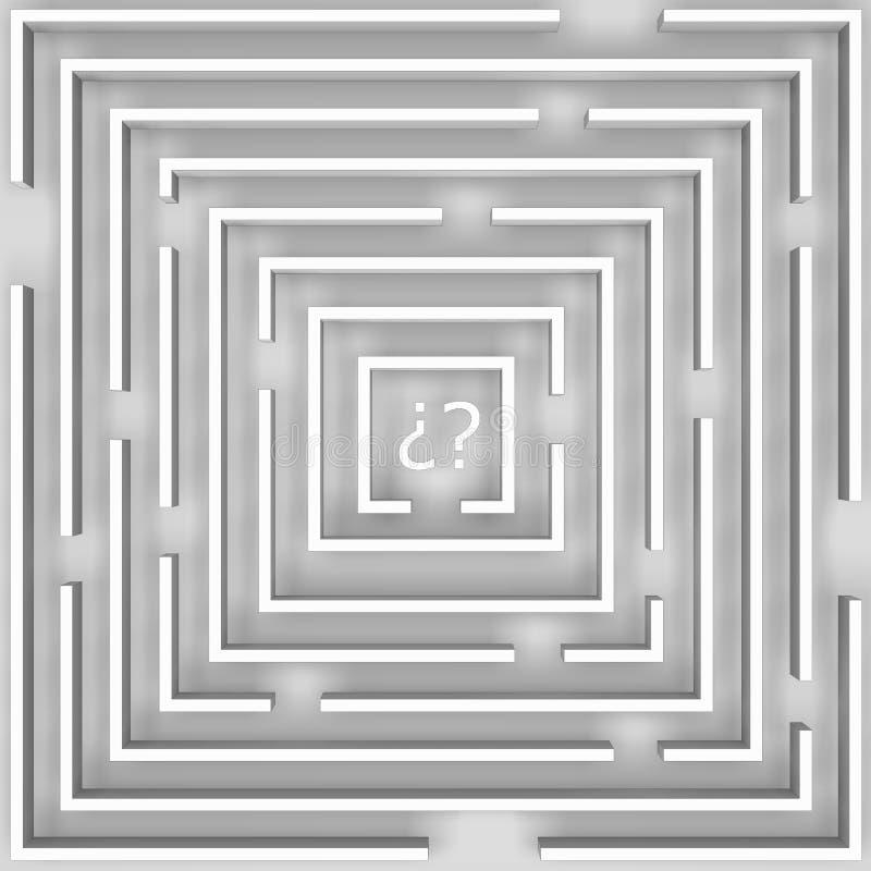 疑义迷宫在白色的 皇族释放例证