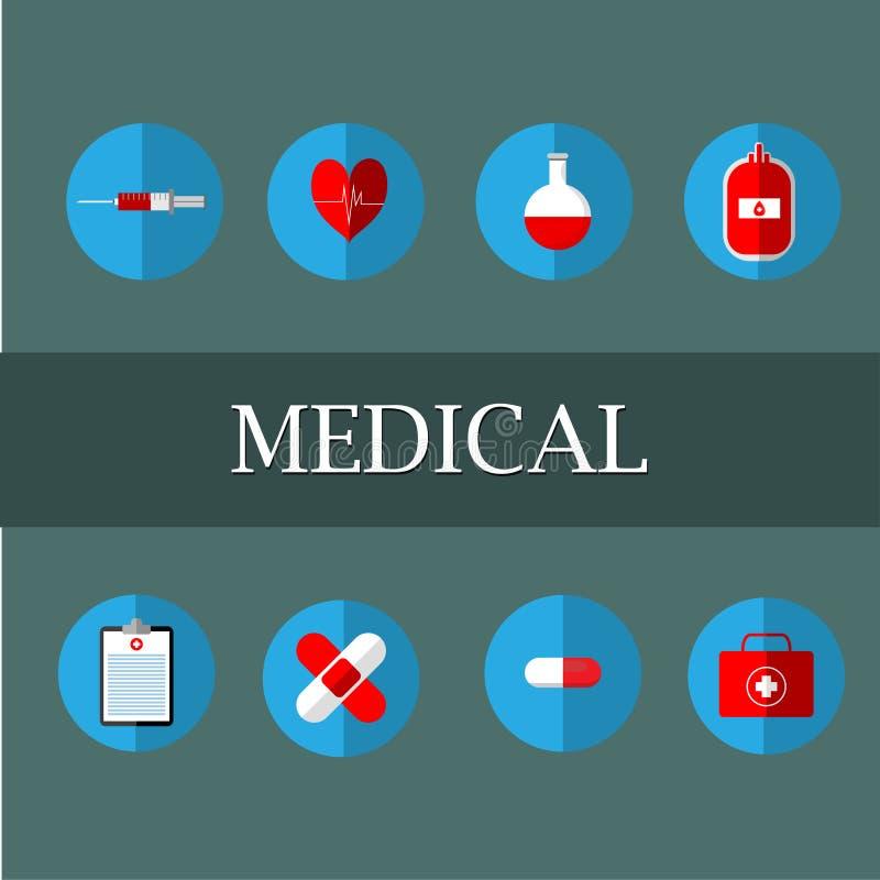 医疗例证包括:血液请求,试管,注射器,心脏泵浦 巴斯底急救箱子、治疗桌和医学 向量例证