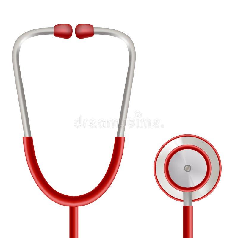 医疗保健与在白色背景隔绝的听诊器的传染媒介概念 可实现的向量例证 皇族释放例证